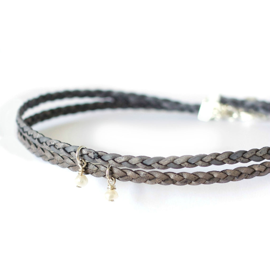 Smoke Gray Radiance Choker ~ Braided Leather Choker