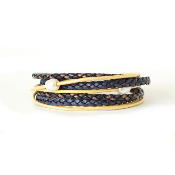Like a Wildflower - Indigo Blue & Golden Yellow Leather Wrap Bracelet
