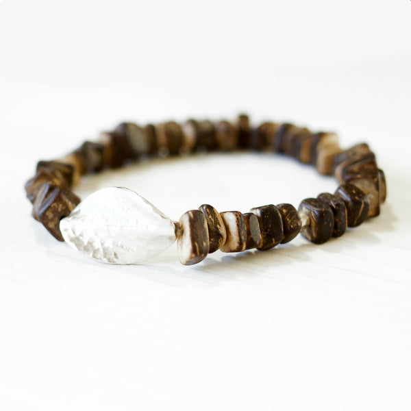 Karen Hill Tribe Silver & Coconut Wood Stacking Bracelet