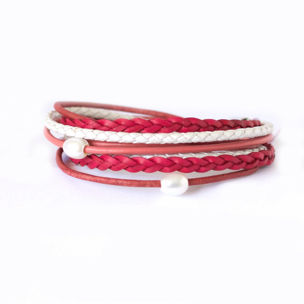 Like A Wildflower - Fuschia Pink Leather Wrap Bracelet