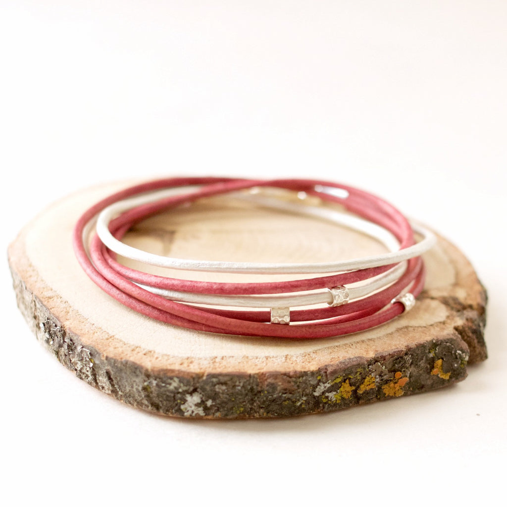 Rosewood Pink Sundance ~ Rosewood & Pearl Leather Wrap Bracelet