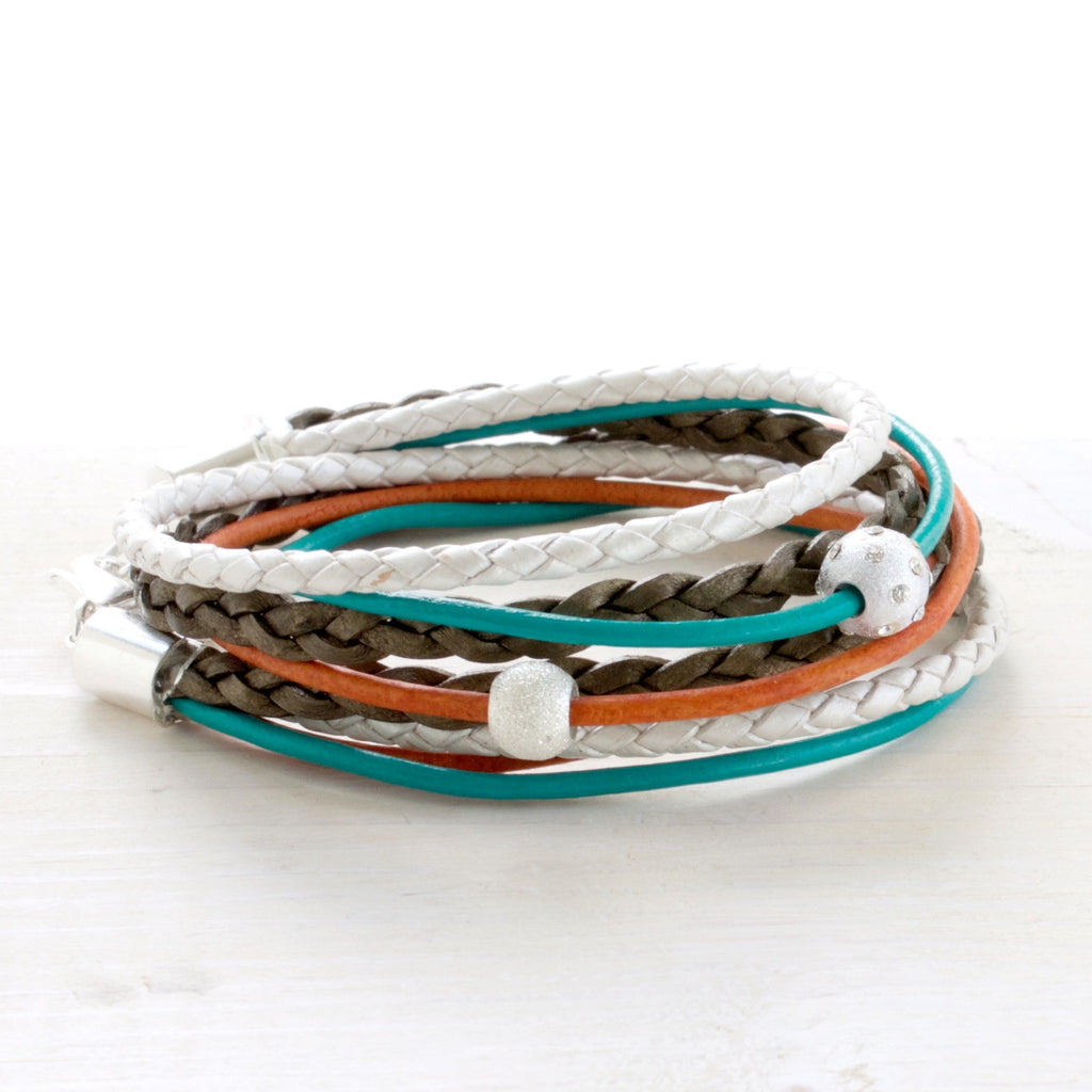 Urban Sunset Teal & Orange Leather Wrap Bracelet | CalypteCollection.com