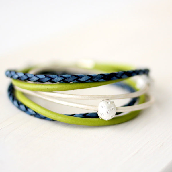 Indigo blue, fern green & white leather wrap bracelet | CalypteCollection.com