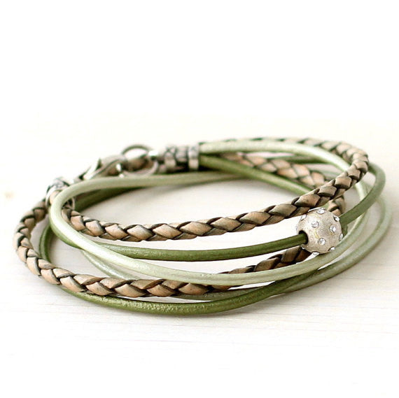mint and chocolate brown leather wrap bracelet calyptecollection.com