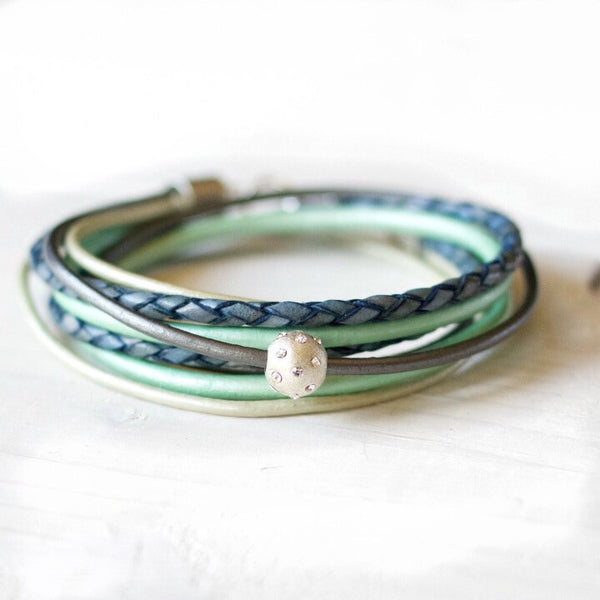 Magnificent Blue ~ Indigo & Teal Leather Wrap Bracelet