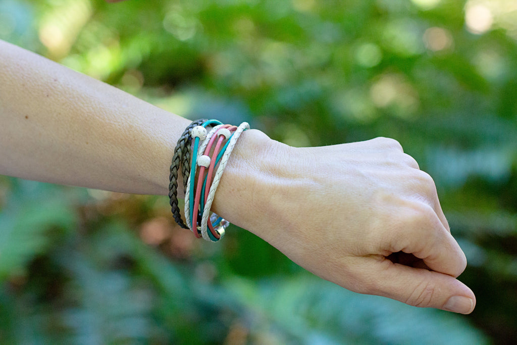 Coral, Ocean Teal, White & Golden Brown Leather Wrap Bracelet | CalypteCollection.com
