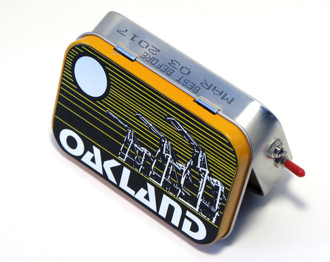"""Oakland Crane Skyline"" Mint Tin Pocket Boombox"