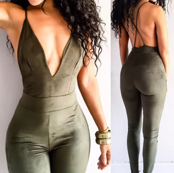 Army Green Suede Jumpsuit - Marvelous Clothing