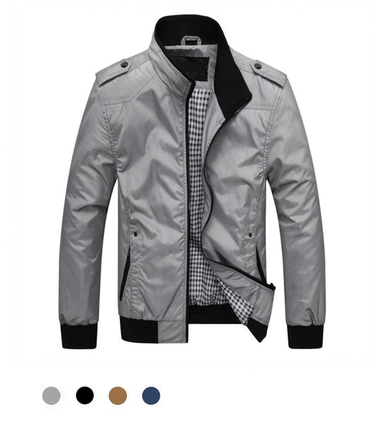 Casual Straight Collar Zip-Up Jacket - Marvelous Clothing