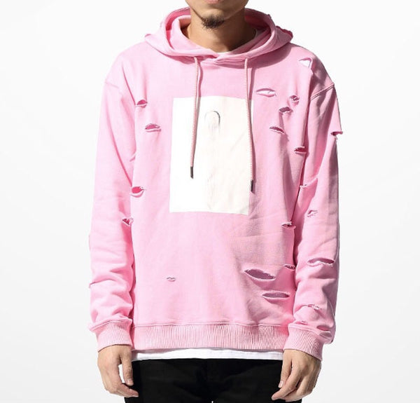 Pink Ripped Hoodie - Marvelous Clothing - 1