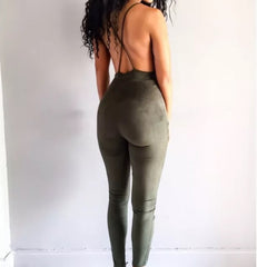 Army Green Suede Jumpsuit - Marvelous Clothing - 3