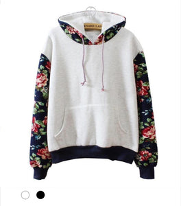 Floral Fleece Hoodie - Marvelous Clothing