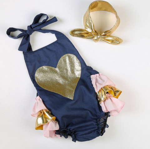 Cotton Candy Love Heart Romper Navy