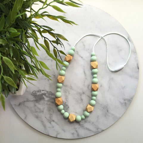 Lilly Mint Silicone and Wood Teething Necklace