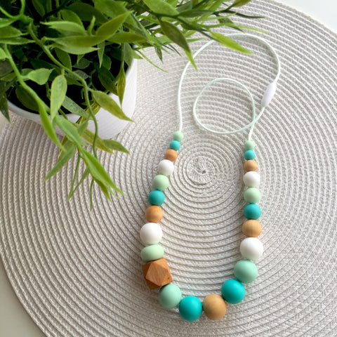 Willow Mint Turquoise Silicone and Wood Teething Necklace
