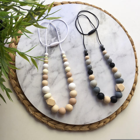 Willow Neutrals Silicone and Wood Teething Necklace