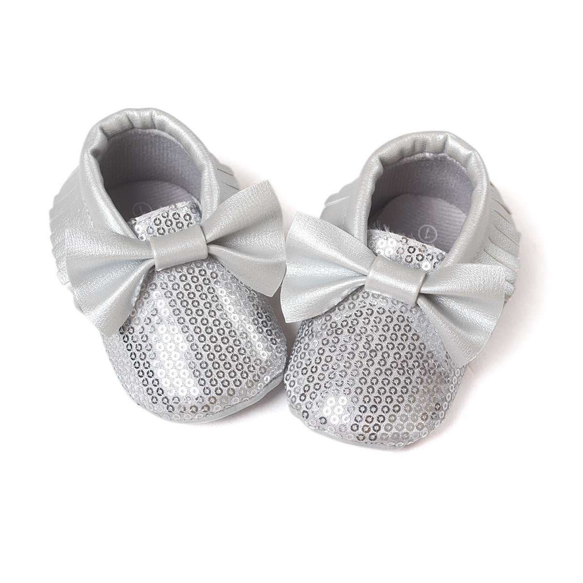 silver sequin moccasins