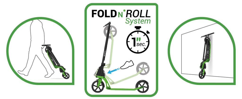 Kleefer Pure-180 Kick scooter Fold and Roll Function