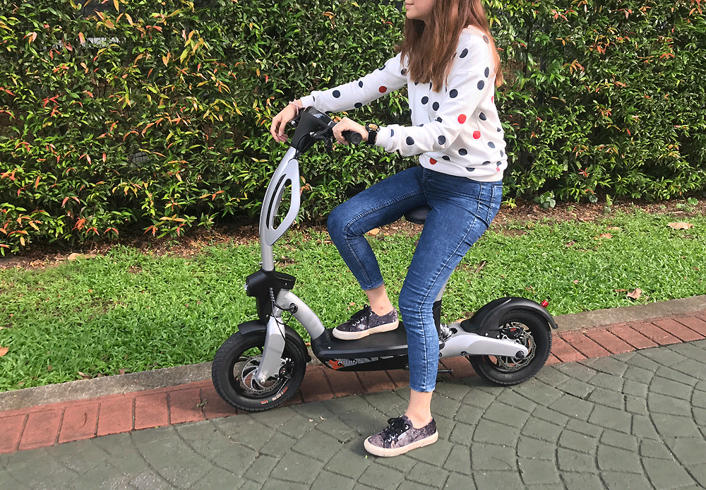 electric scooter with seat, seated electric scooter