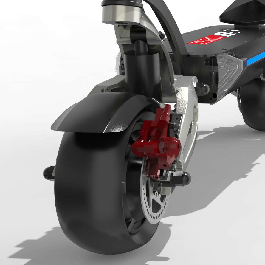 Zero 8X Electric Scooter front suspension close up