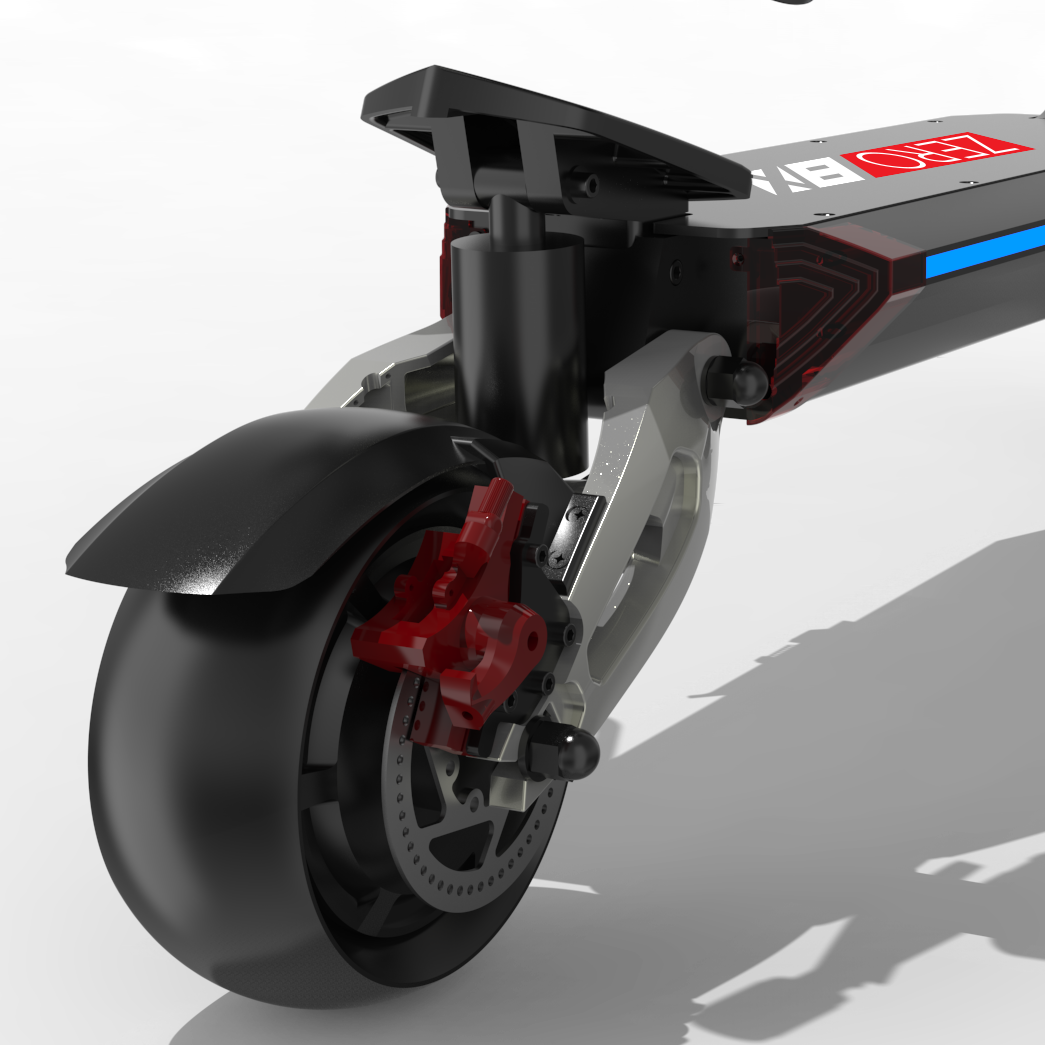 Zero 8X Electric Scooter rear suspension closeup