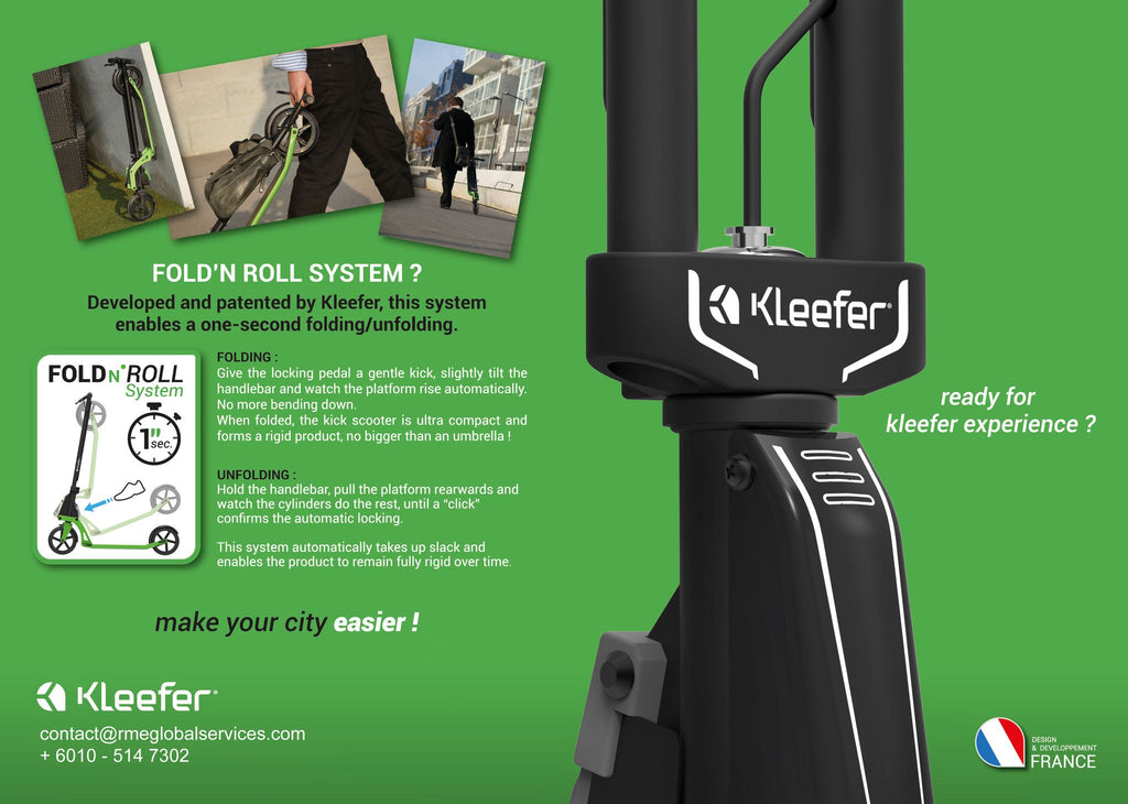Kleefer Pure-180 Kickscooter with fold and roll system