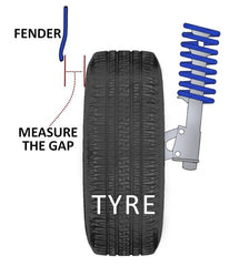 Measure the gap between wheel arch and tyre wall