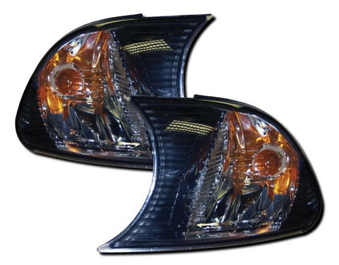 BMW 3-Series E46 Convertible Front Indicator Lights - Black & Chrome (00-01)