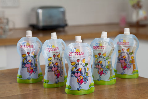 Image of Pack of 40 x 150ml weaning reusable Pouches. Non Spill