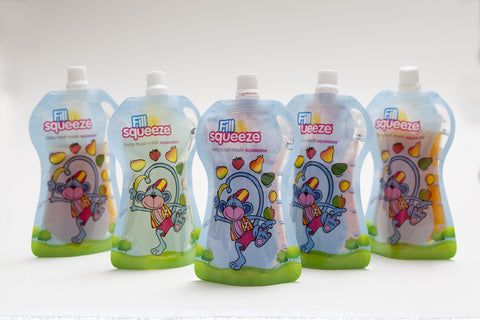 Image of Pack of 30 x 150ml weaning reusable Pouches. Non Spill