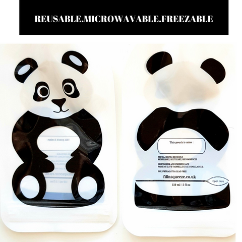 Reusable Weaning Baby Food Pouch. Bottom Opening with Zip. 6 x 150 ml. Shivy the panda