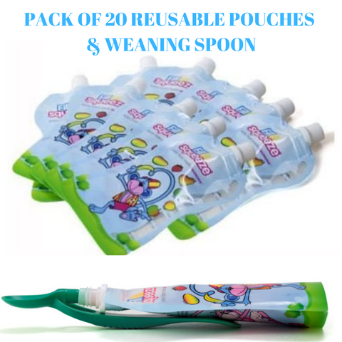 Pack of 20 x 150ml Reusable baby pouches non spill and weaning pouch spoon