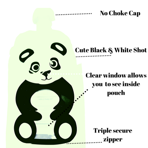 Image of Reusable Weaning Baby Food Pouch. Bottom Opening with Zip. 6 x 150 ml. Shivy the panda