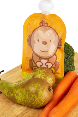 Image of Fill n Squeeze Bottom opening Reusable Baby Food Pouch - Dani the Monkey 6 x 150ml refillable pouches