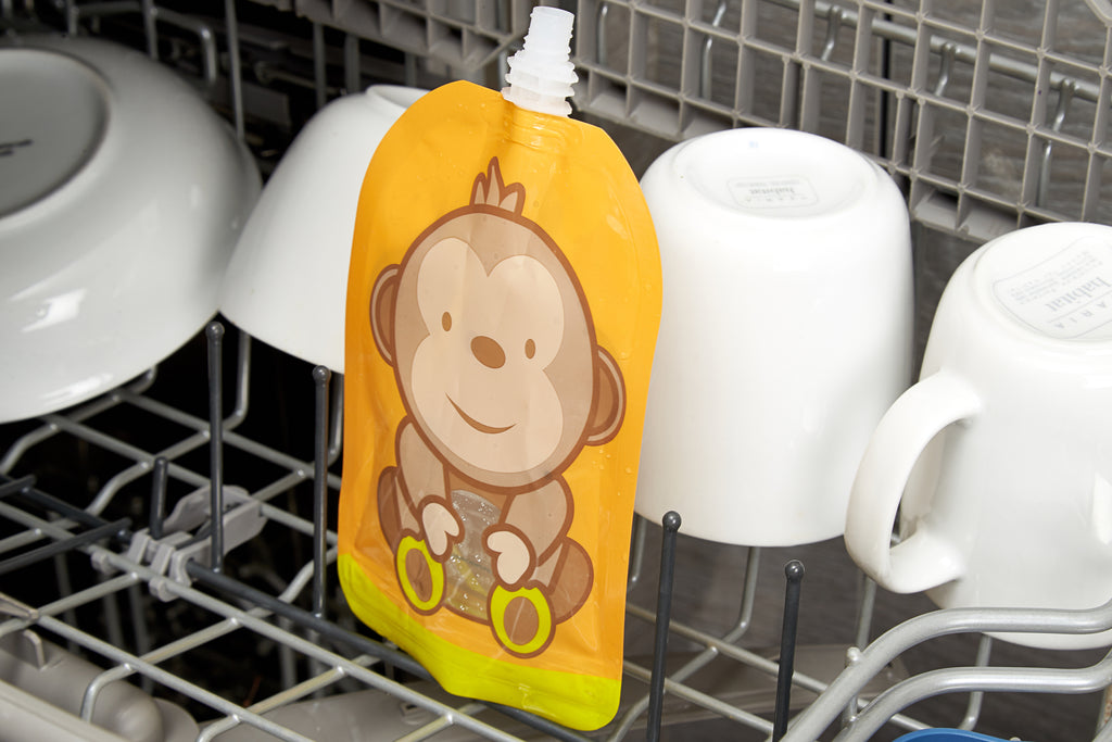 Reusable Weaning Baby Food Pouch. Bottom Opening with Zip. 6 x 150 ml. Dani the monkey.