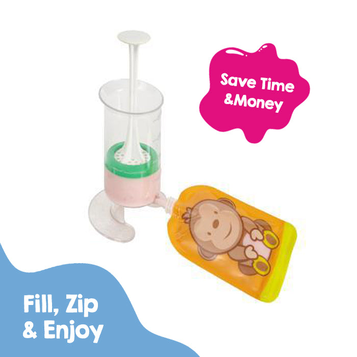 Fill n Squeeze Bottom opening Reusable Baby Food Pouch - Dani the Monkey 6 x 150ml refillable pouches