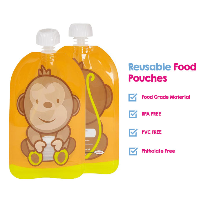 Family Pack of reusable pouches with bottom opening zip x 6 and Pack of pouch toppers