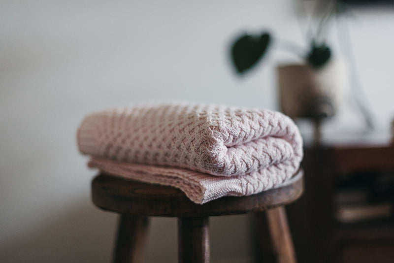 Blush Pink Diamond Knit Baby Blanket - Snuggle Hunny Kids