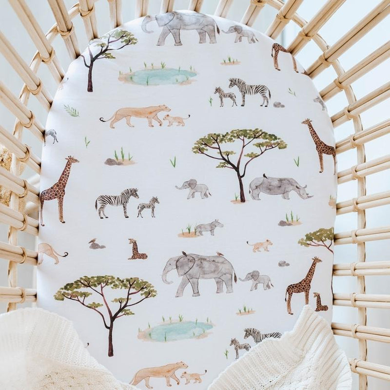 Safari Bassinet Sheet / Change Pad Cover - Snuggle Hunny Kids