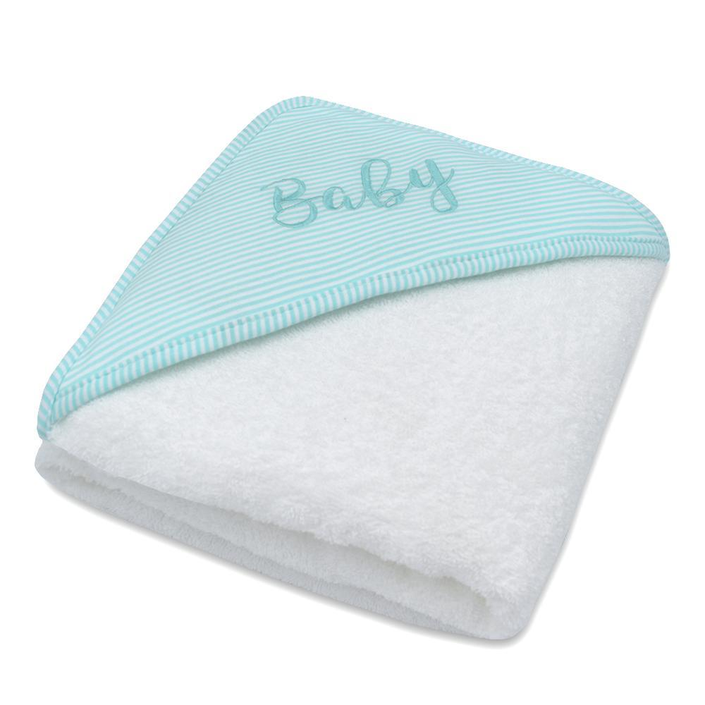 Hooded Baby Towel - Aqua Stripe - Living Textiles