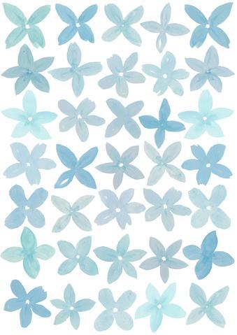 Happy Flowers- Duck Egg Blue - Fabric Wall Stickers - Sailah Lane