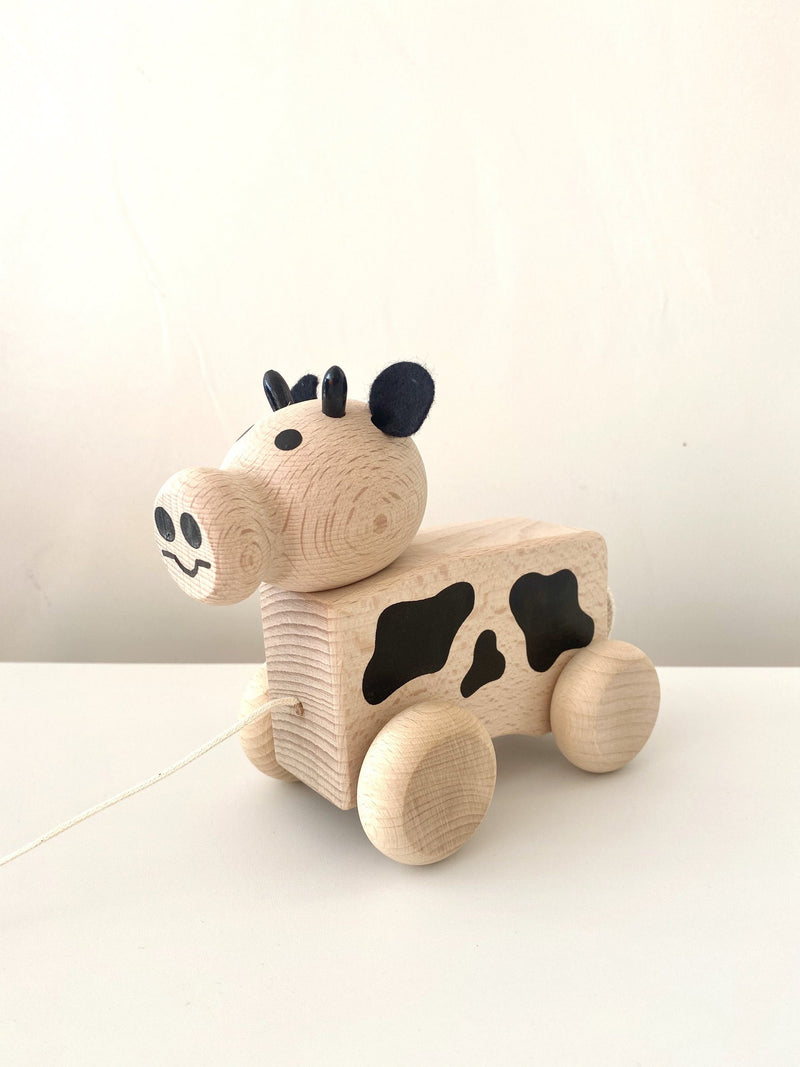 Wooden Pull Along Cow -Maisie - Happy Go Ducky