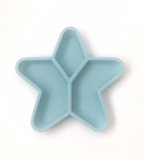 Silicone Divided Star Plate- Duck Egg Blue- Little Woods
