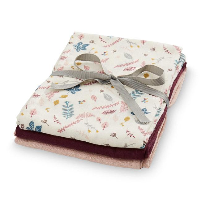 Pack Muslin Cloths - Pressed Leaves Rose, Bordeaux, Blossom Pink - CAM CAM Copenhagen