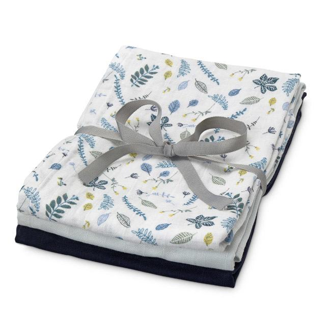 3 Pack Muslin Cloths - Pressed Leaves Blue, Baby Blue, Navy - CAM CAM Copenhagen