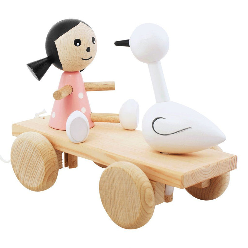 Wooden Pull Along Girl and Swan - Jasmine & Josephine - Happy Go Ducky