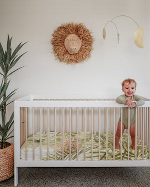 Palms Fitted Cot Sheet - Savannah and Three