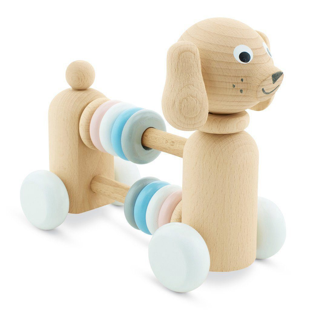 wooden dog with counting beads