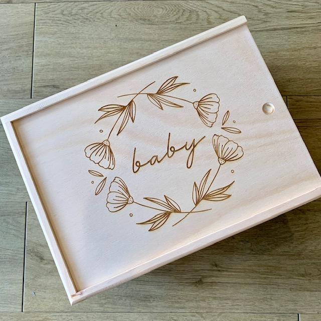 'baby' Keepsake Box - floral - Timber Tinkers