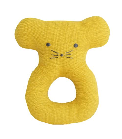 Mouse Ring Rattle- Butterscotch - Alimrose